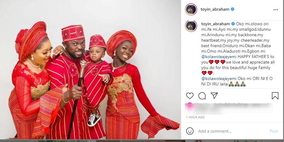 Toyin Abraham prays for her husband, Kola Ajeyemi on father's day