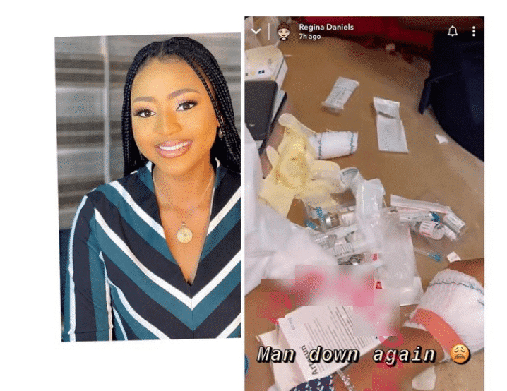 Panic as Regina Daniels lands in the hospital for the third time in one month