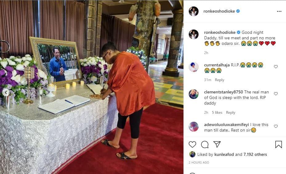 Ronke Oshodi Oke pays visit to T.B Joshua family