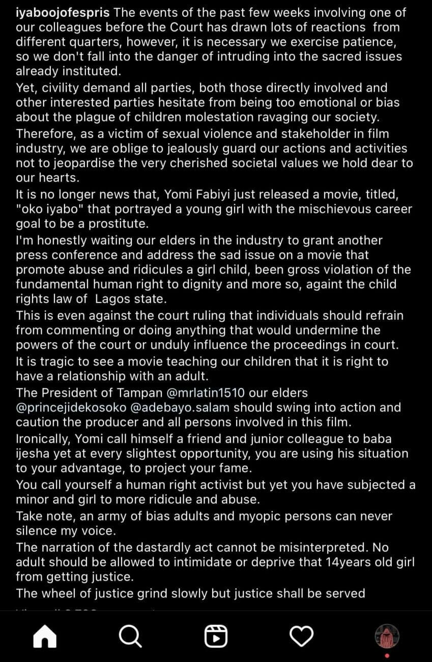 Iyabo Ojo reacts to Yomi Fabiyi Baba Ijesha's rape saga inspired movie