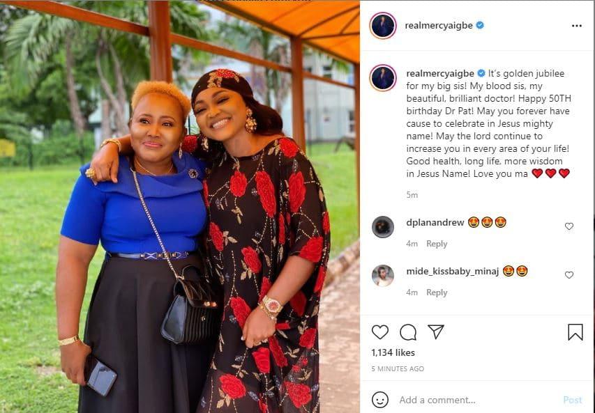 Mercy Aigbe celebrates sister