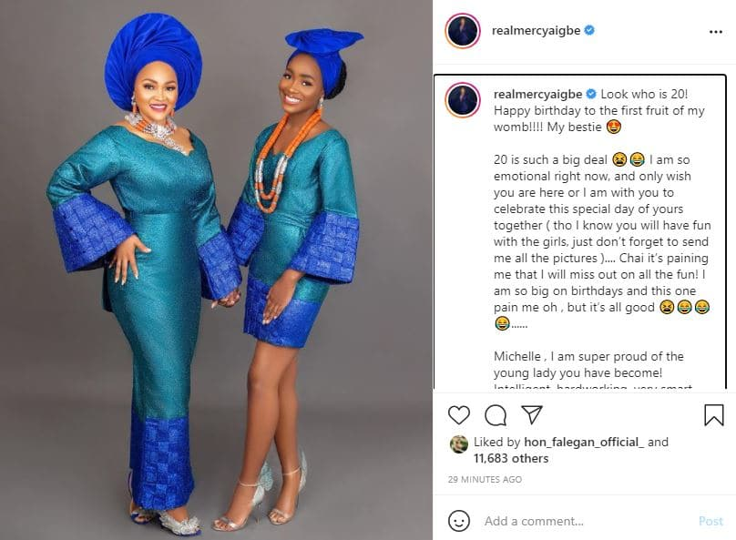 Mercy Aigbe gets emotional as she recounts life experiences with daughter on her 20th birthday