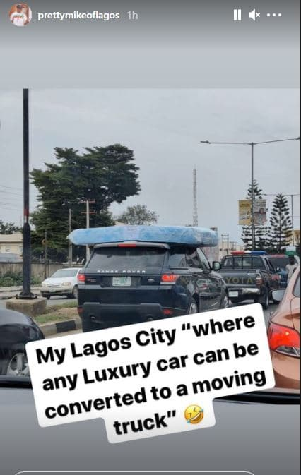 Pretty Mike reacts after spotting a Range Rover carrying mattress in Lagos traffic