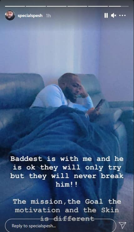Davido hypeman Special Spesh gives an update on his current condition following Obama DMW's death