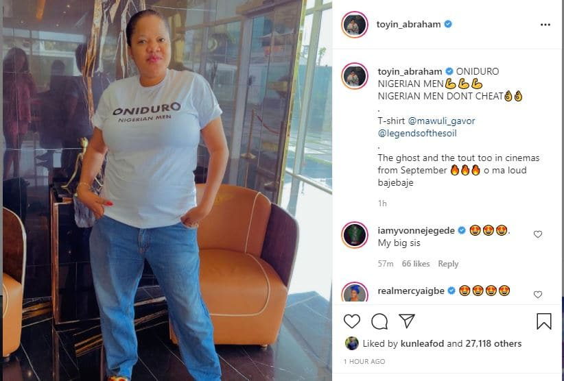 Actress Toyin Abraham sparks reactions as she rocks her husband's jeans trousers
