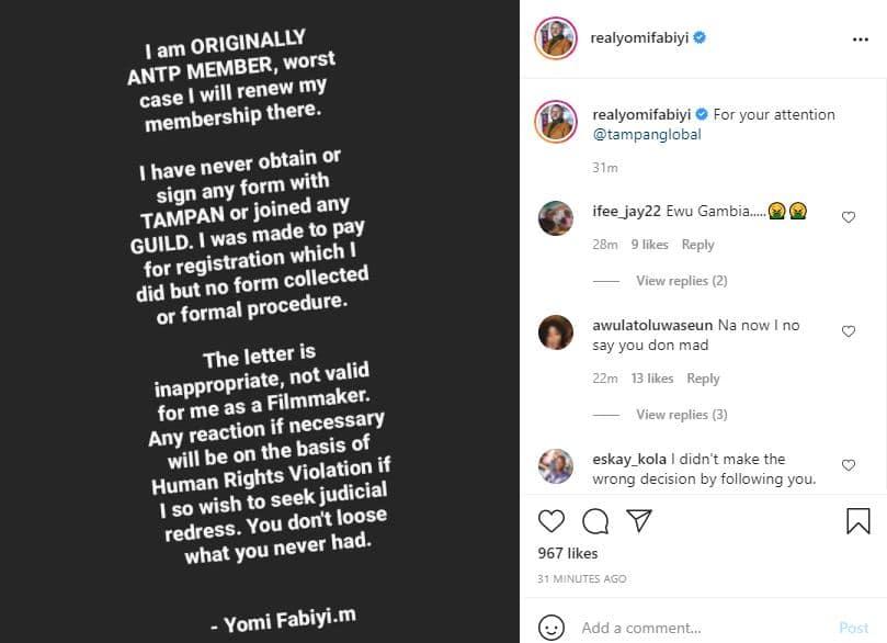 Yomi Fabiyi on suspension