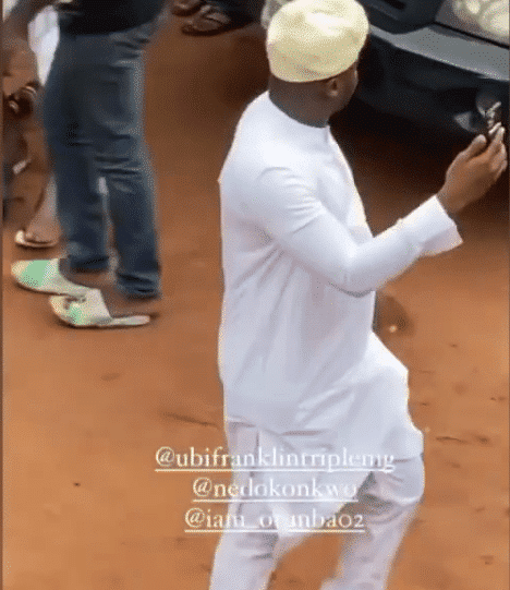 Ubi Franklin reacts after he was mocked for doing the job of a videographer at Obi Cubana's mother's burial