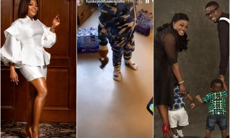 Funke Akindele cautions her twins as they try to do the crate challenge