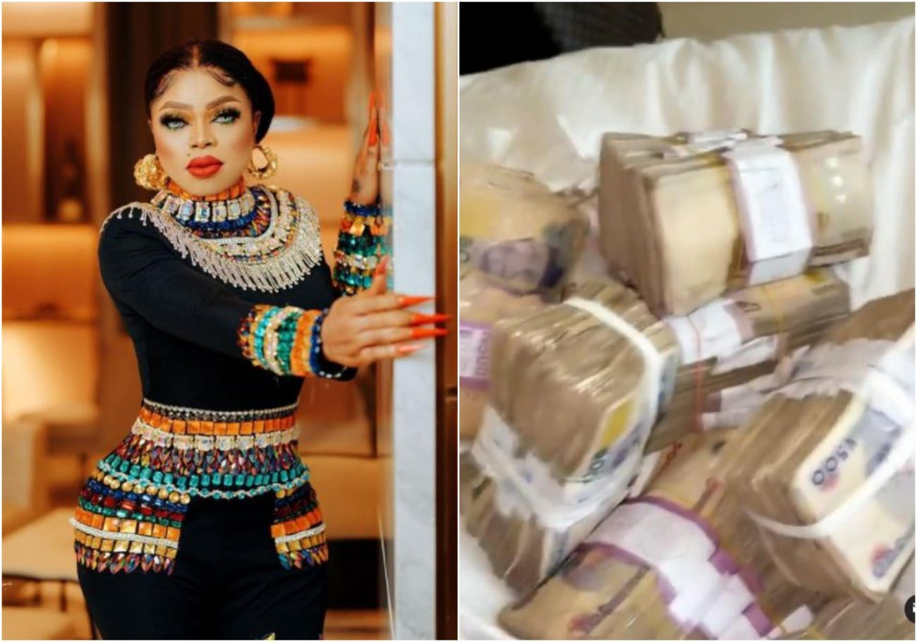 Bobrisky flaunts bundles of cash he recieved for his 30th birthday