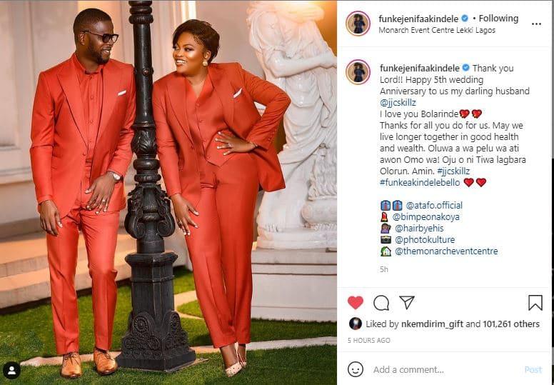 Funke Akindele celebrate 5th wedding anniversary