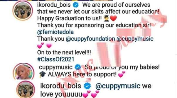 Ikorodu Bois express gratitude to billionaire Femi Otedola and DJ Cuppy for sponsoring their education