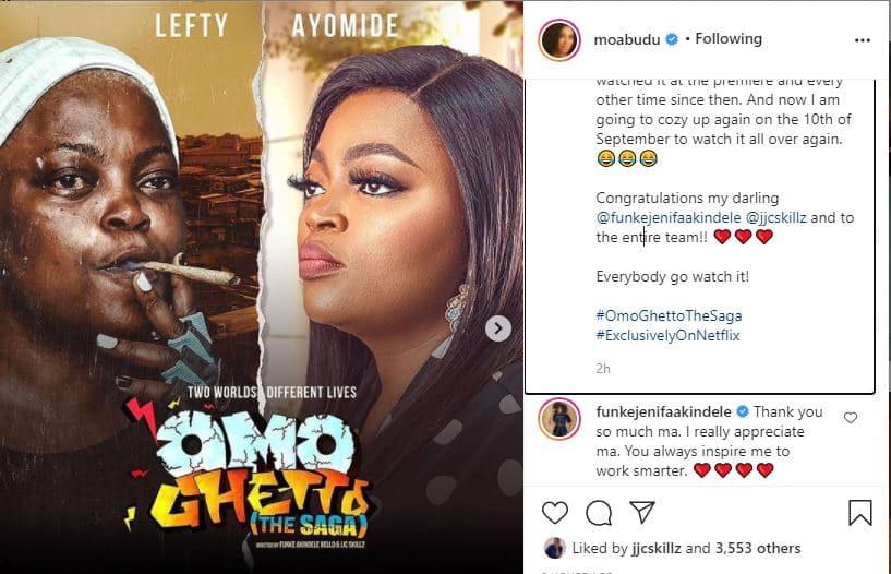 Actress Funke Akindele reacts as Mo Abudu praises her over latest achievement