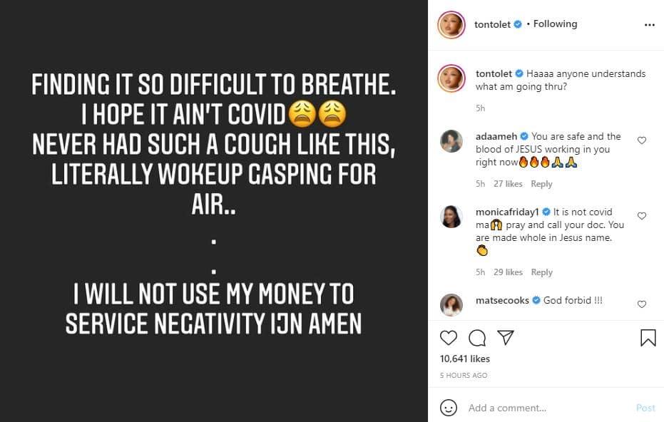 Actress Tonto Dikeh expresses fear over her life