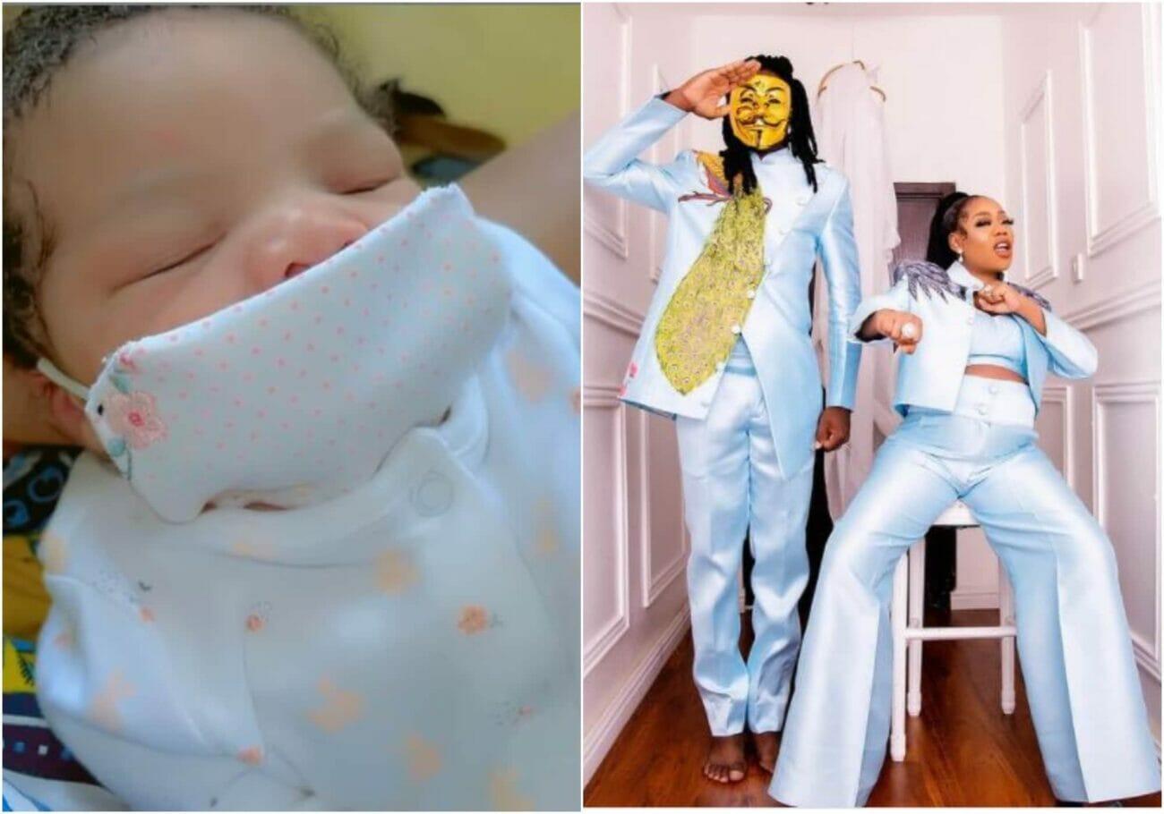 Toyin Lawani and baby