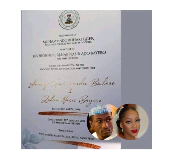 First look at Buhari's son Yusuf's wedding invitation card