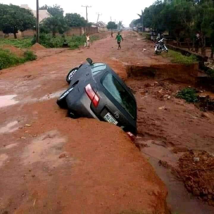 Rain washes away road in Benue