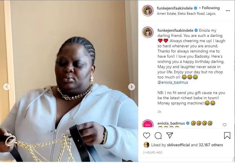 Actress Funke Akindele showers love on Eniola Badmus on her 44th birthday