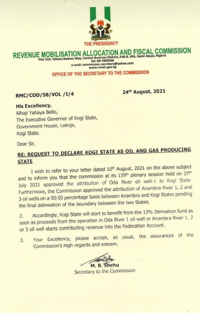 Govt grants Kogi oil-producing state status