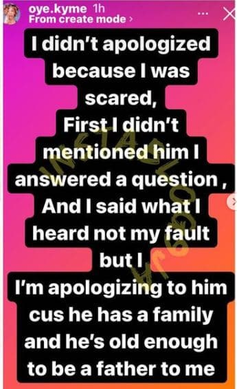 Oye apologize