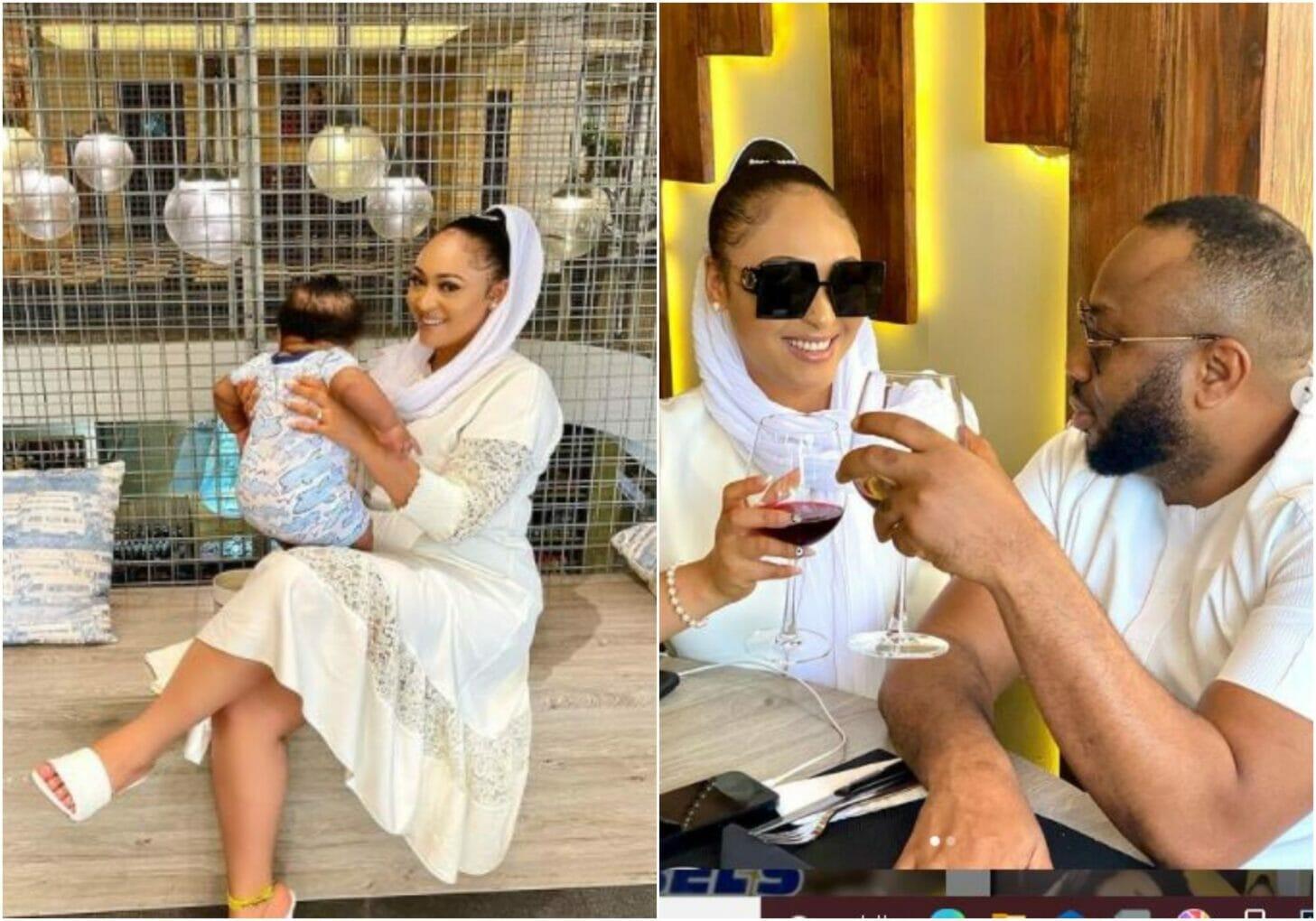 Rosy Meurer and her husband Olakunle Churchill celebrates her son
