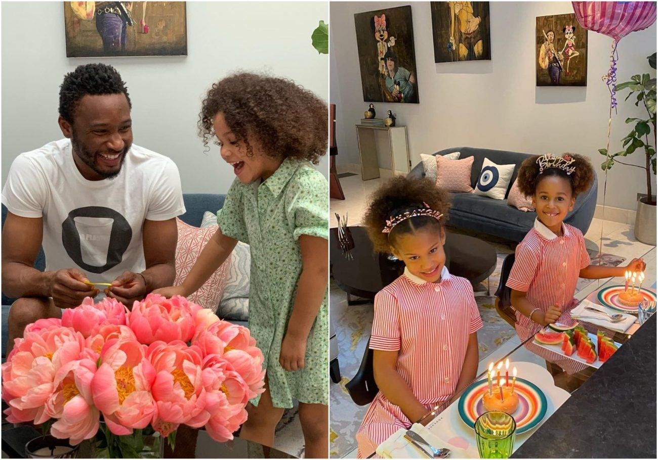 Footballer Mikel Obi celebrates twin daughters on their birthday