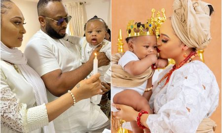 Reactions as Churchill shows off son and wide amidst Tonto Dikeh's trial