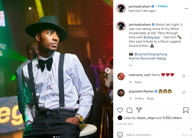 BBNaija's Yerins pays tribute to late singer Sound Sultan with his outfit