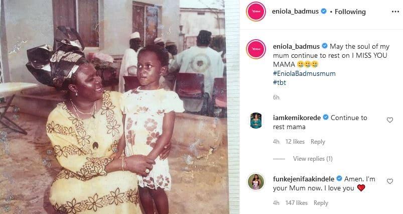 Funke Akindele comforts Eniola Badmus as she mourns her mother