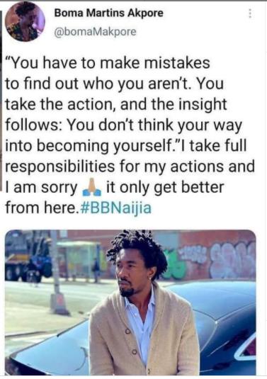 BBNaija 2021: Evicted housemate Boma Akpore apologises to Nigerians
