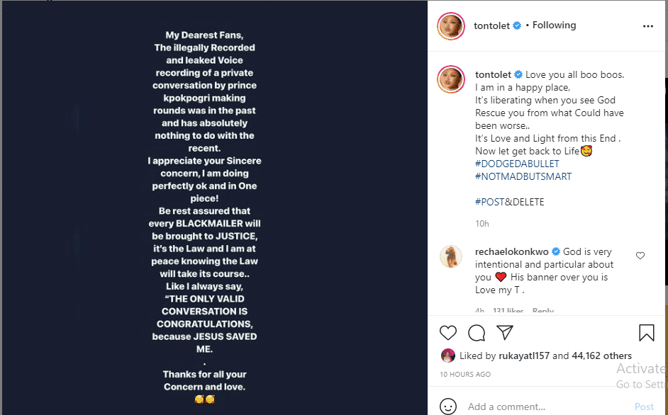 Tonto Dikeh reacts to leaked audio of her begging ex-boyfriend