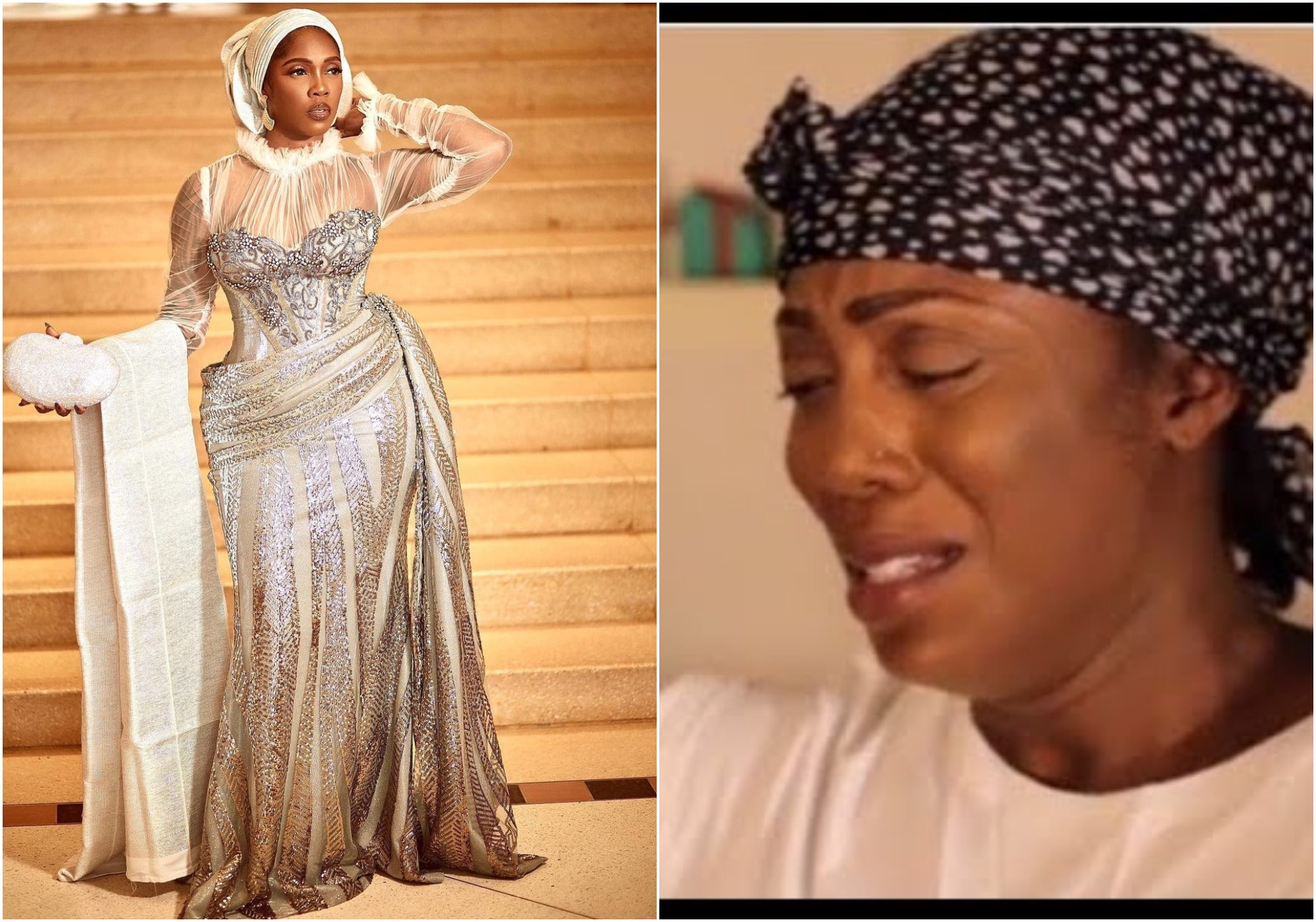This world is wicked - Fans pray and express concern for Tiwa savage as someone touches her head with money