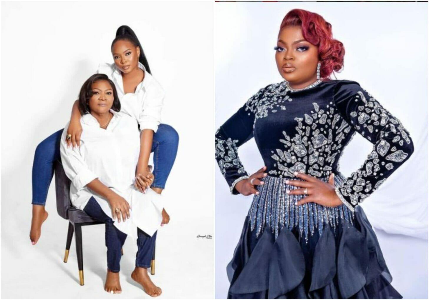 Funke Akindele reacts as Yemi Alade celebrates her mother