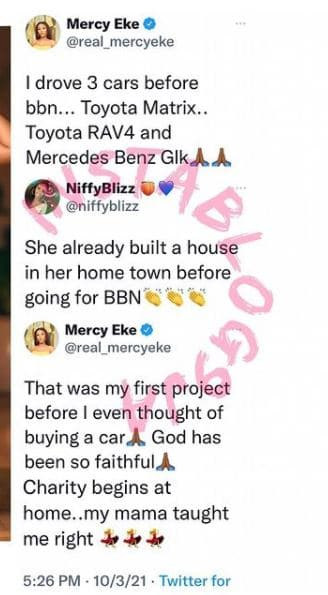 Mercy Eke list her achievement