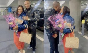 Nkechi Blessing's boyfriend welcomes her to london in grand style
