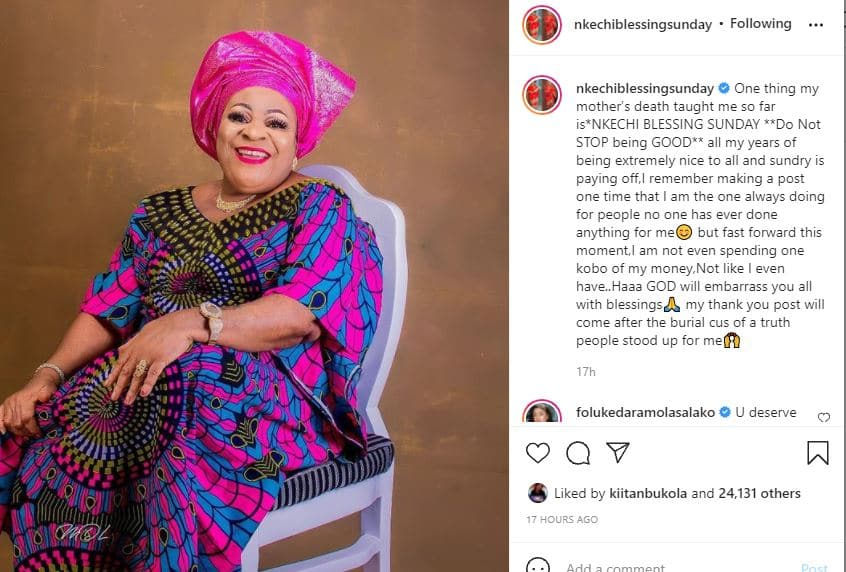 Nkechi on mother's death