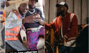 Fans hype Davido as he shows respect to a molested airport staff (video)